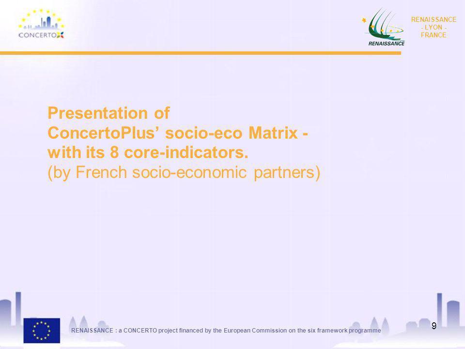 RENAISSANCE : a CONCERTO project financed by the European Commission on the six framework programme RENAISSANCE - LYON - FRANCE 9 Presentation of ConcertoPlus socio-eco Matrix - with its 8 core-indicators.