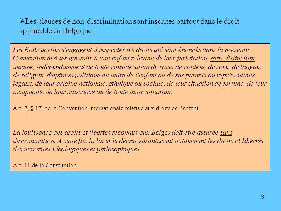 3 Les clauses de non-discrimination sont inscrites partout dans le droit applicable en Belgique : Les Etats parties s'engagent à respecter les droits