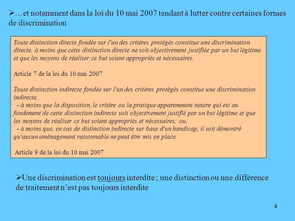 4 …et notamment dans la loi du 10 mai 2007 tendant à lutter contre certaines formes de discrimination Toute distinction directe fondée sur l'un des cr