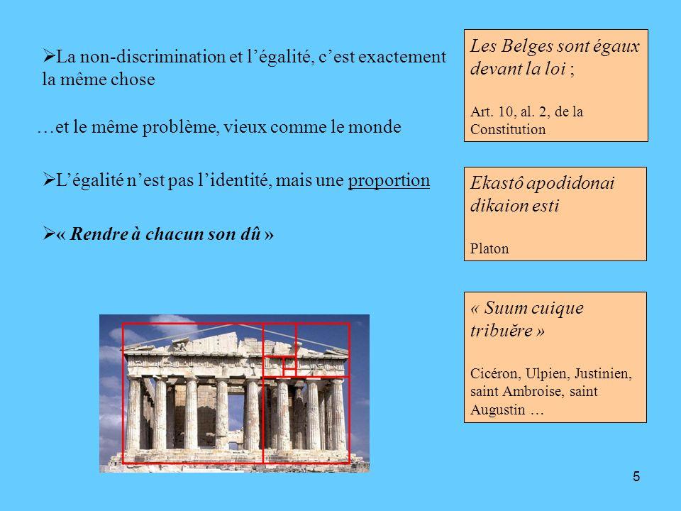 5 La non-discrimination et légalité, cest exactement la même chose Les Belges sont égaux devant la loi ; Art. 10, al. 2, de la Constitution …et le mêm