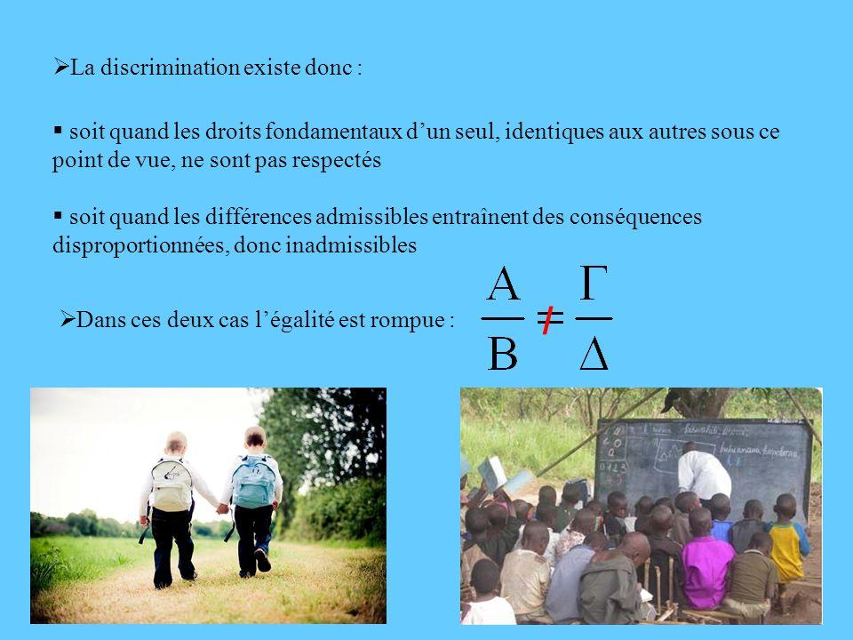9 La discrimination existe donc : soit quand les droits fondamentaux dun seul, identiques aux autres sous ce point de vue, ne sont pas respectés soit
