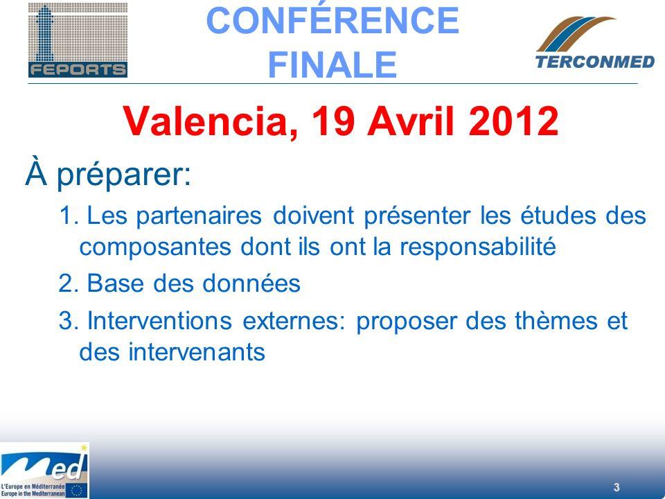 3 CONFÉRENCE FINALE Valencia, 19 Avril 2012 À préparer: 1. Les partenaires doivent présenter les études des composantes dont ils ont la responsabilité
