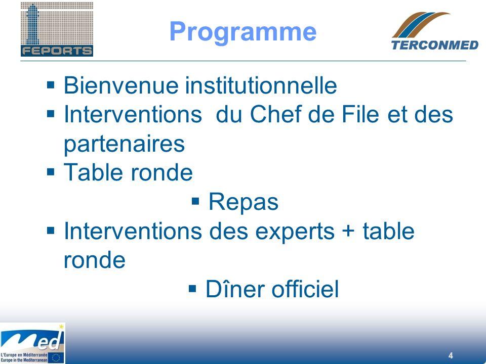 4 Programme Bienvenue institutionnelle Interventions du Chef de File et des partenaires Table ronde Repas Interventions des experts + table ronde Dîne