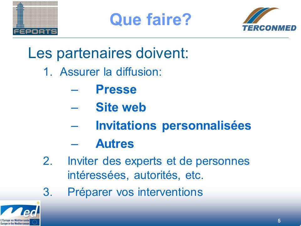 5 Que faire? Les partenaires doivent: 1.Assurer la diffusion: –Presse –Site web –Invitations personnalisées –Autres 2.Inviter des experts et de person
