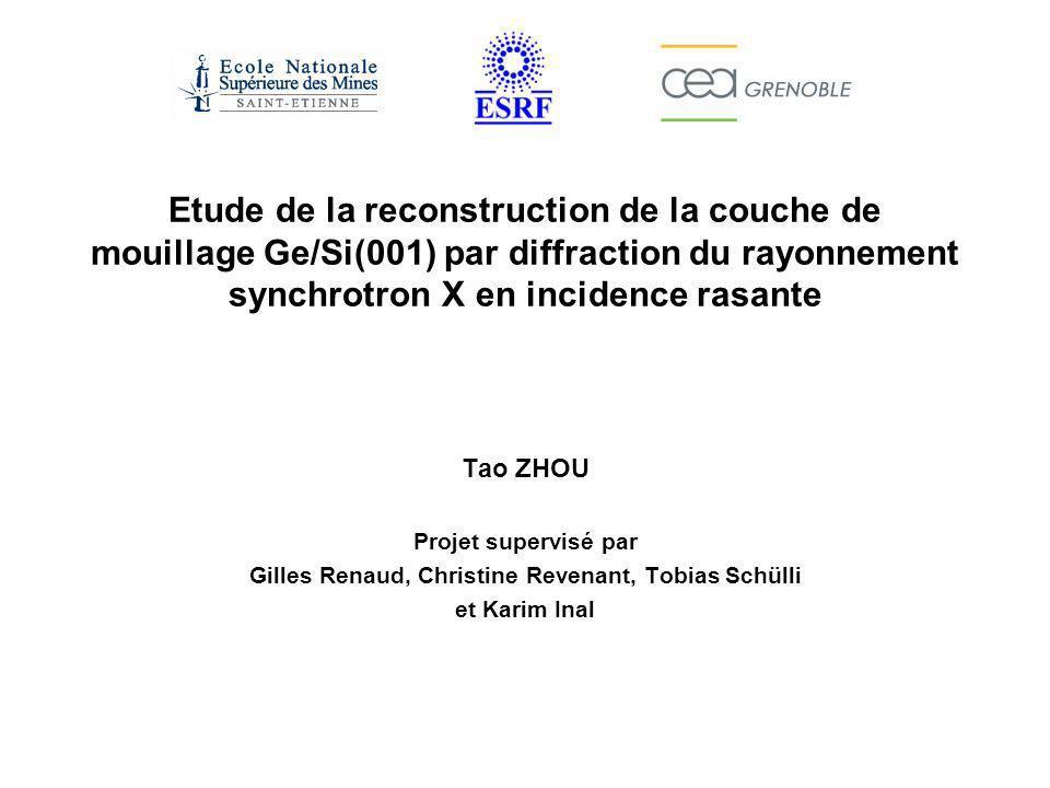 Reconstruction (MxN) Structure 3D –Intérêt de Ge/Si (Self assembled Ge quantum dots on Si and their application, K.