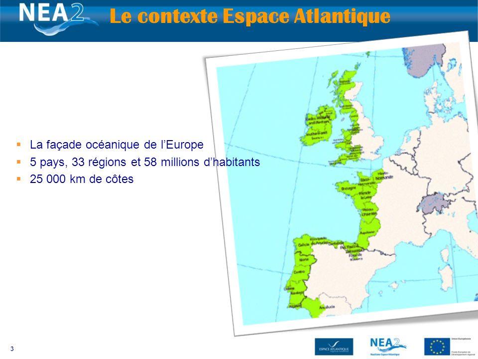 3 Le contexte Espace Atlantique La façade océanique de lEurope 5 pays, 33 régions et 58 millions dhabitants 25 000 km de côtes
