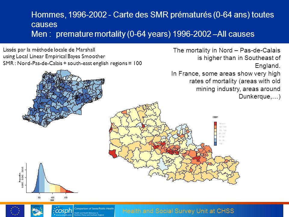 Health and Social Survey Unit at CHSS Hommes, 1996-2002 - Carte des SMR prématurés (0-64 ans) toutes causes Men : premature mortality (0-64 years) 199