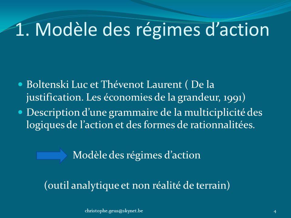 1. Modèle des régimes daction Boltenski Luc et Thévenot Laurent ( De la justification. Les économies de la grandeur, 1991) Description dune grammaire