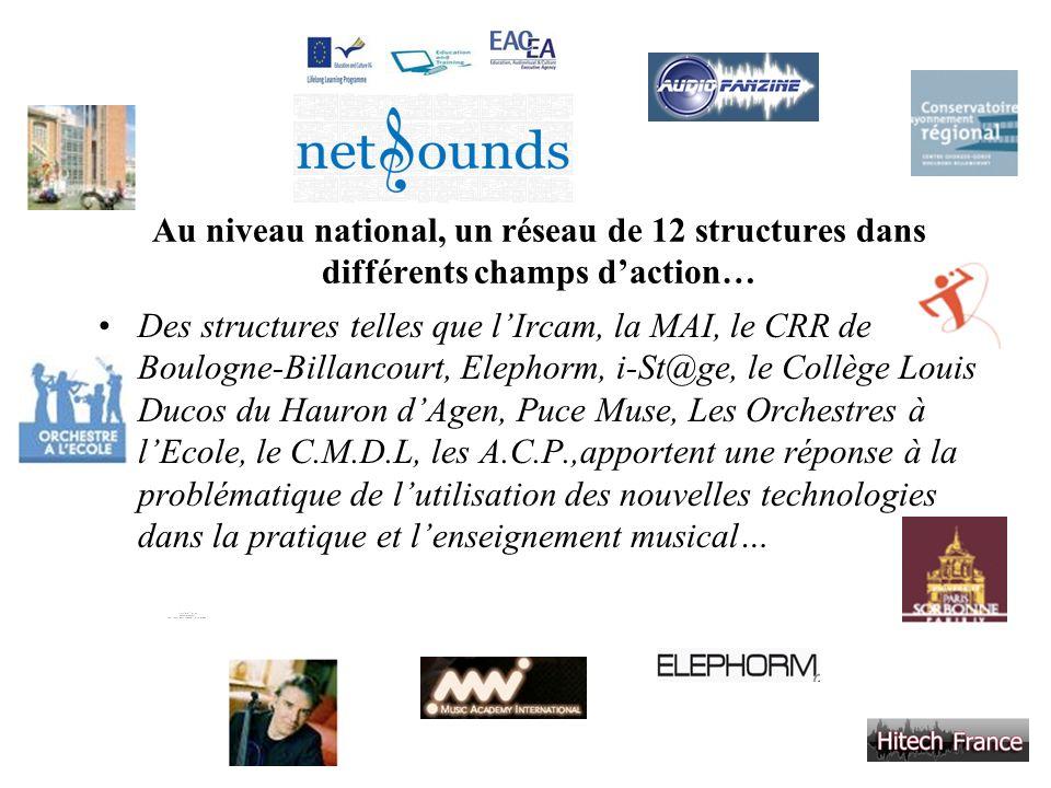 Au niveau national, un réseau de 12 structures dans différents champs daction… Des structures telles que lIrcam, la MAI, le CRR de Boulogne-Billancour
