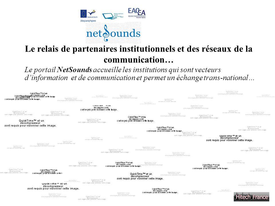 Le relais de partenaires institutionnels et des réseaux de la communication… Le portail NetSounds accueille les institutions qui sont vecteurs dinform
