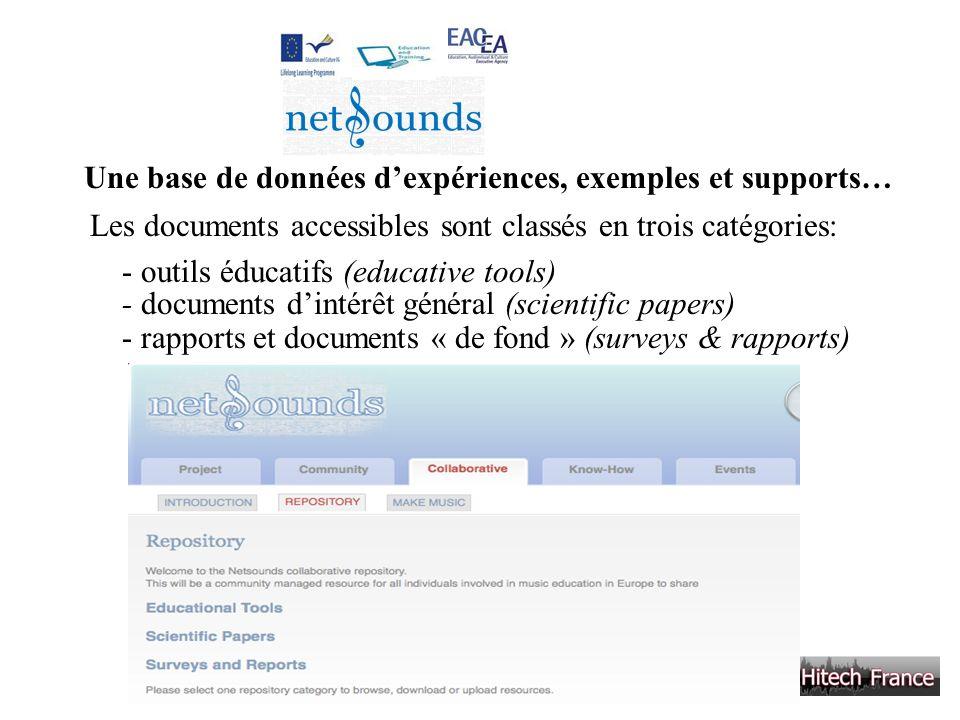 Une base de données dexpériences, exemples et supports… Les documents accessibles sont classés en trois catégories: - outils éducatifs (educative tool