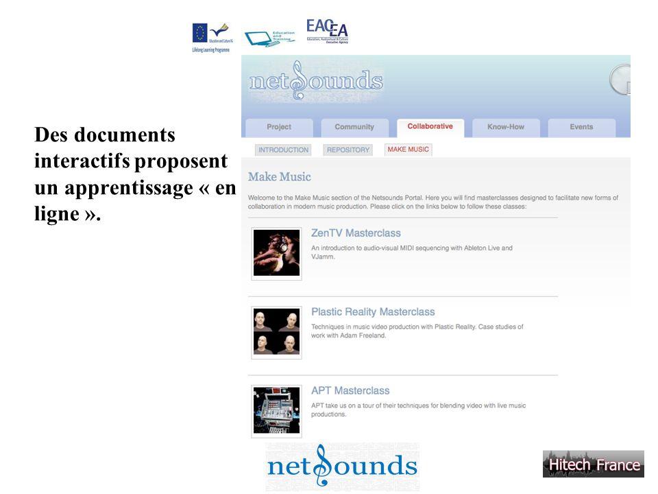 Des documents interactifs proposent un apprentissage « en ligne ».