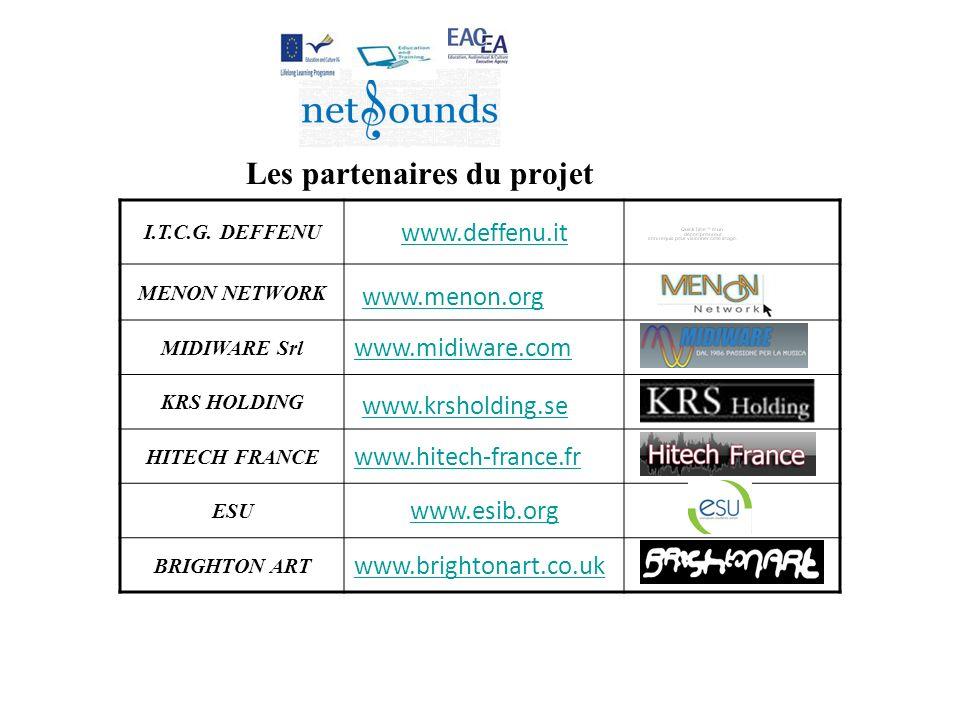 Les partenaires du projet I.T.C.G. DEFFENU www.deffenu.it MENON NETWORK www.menon.org MIDIWARE Srl www.midiware.com KRS HOLDING www.krsholding.se HITE