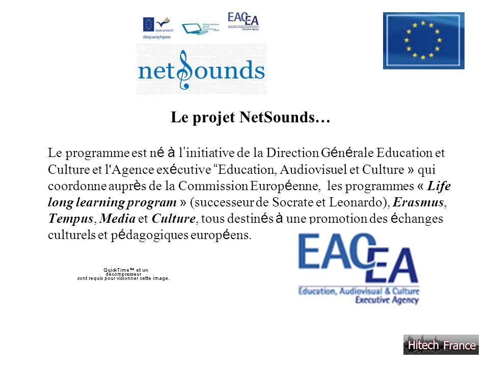 Le projet NetSounds… Le programme est n é à l initiative de la Direction G é n é rale Education et Culture et l'Agence ex é cutive Education, Audiovis