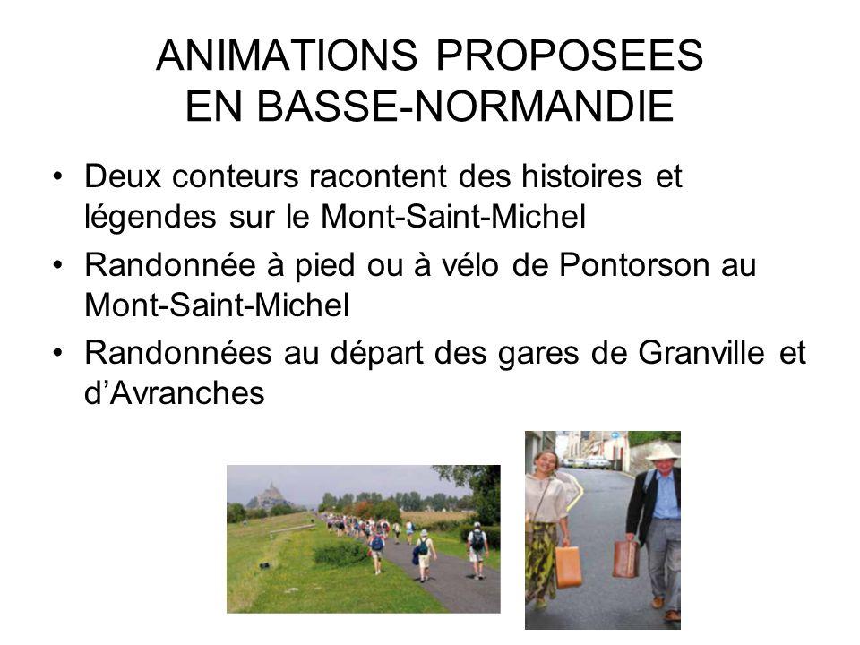 ANIMATIONS PROPOSEES EN BASSE-NORMANDIE Deux conteurs racontent des histoires et légendes sur le Mont-Saint-Michel Randonnée à pied ou à vélo de Ponto