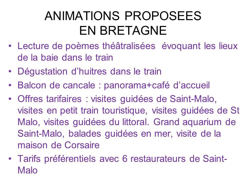 ANIMATIONS PROPOSEES EN BRETAGNE Lecture de poèmes théâtralisées évoquant les lieux de la baie dans le train Dégustation dhuitres dans le train Balcon