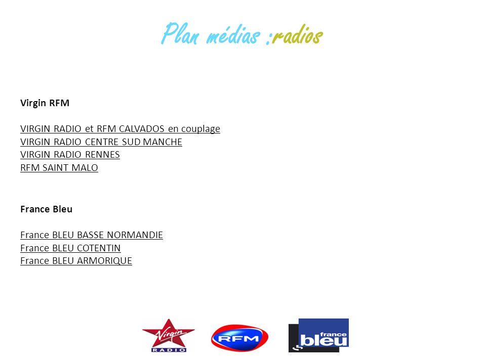 Virgin RFM VIRGIN RADIO et RFM CALVADOS en couplage VIRGIN RADIO CENTRE SUD MANCHE VIRGIN RADIO RENNES RFM SAINT MALO France Bleu France BLEU BASSE NO