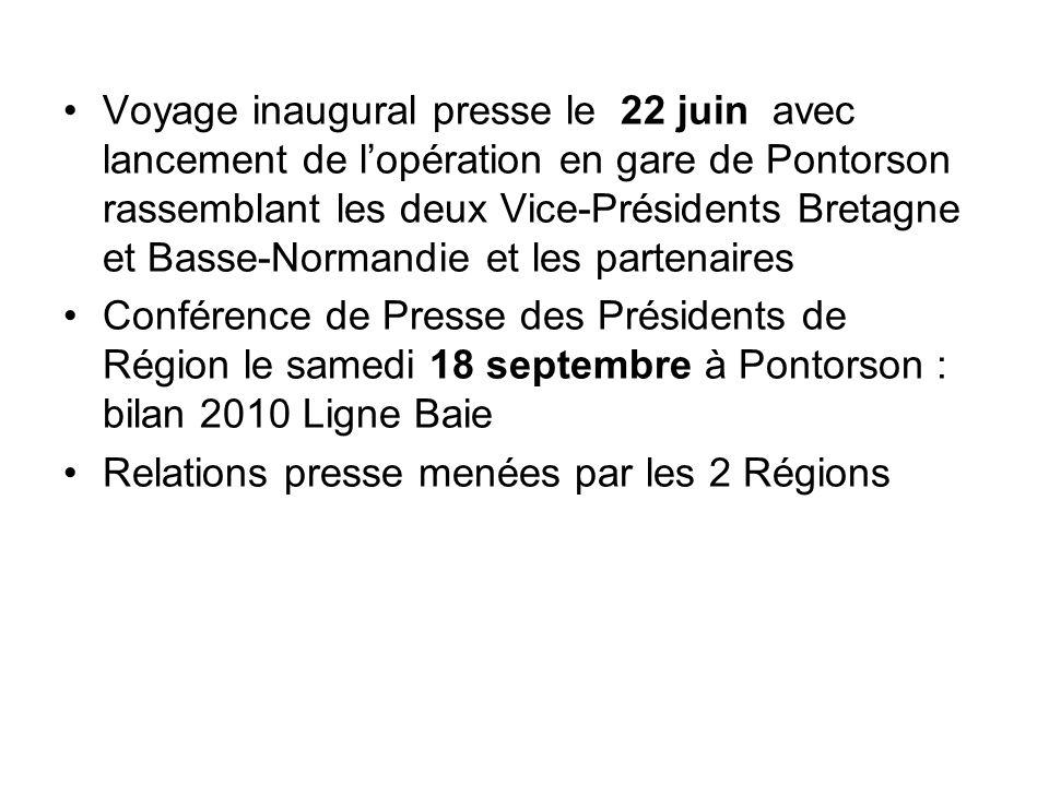 Voyage inaugural presse le 22 juin avec lancement de lopération en gare de Pontorson rassemblant les deux Vice-Présidents Bretagne et Basse-Normandie