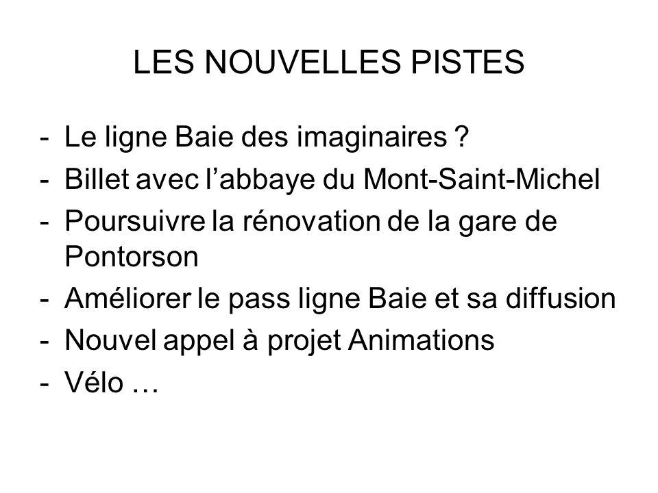 LES NOUVELLES PISTES -Le ligne Baie des imaginaires ? -Billet avec labbaye du Mont-Saint-Michel -Poursuivre la rénovation de la gare de Pontorson -Amé