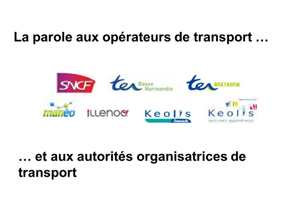 La parole aux opérateurs de transport … … et aux autorités organisatrices de transport