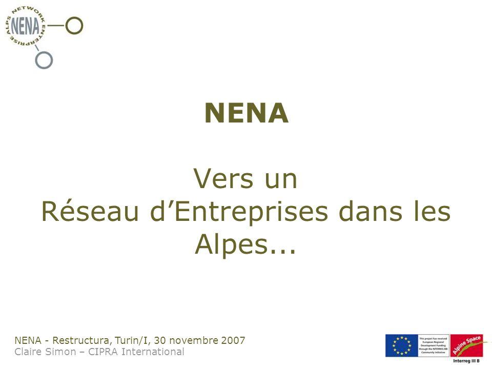 NENA - Restructura, Turin/I, 30 novembre 2007 Claire Simon – CIPRA International NENA Vers un Réseau dEntreprises dans les Alpes...