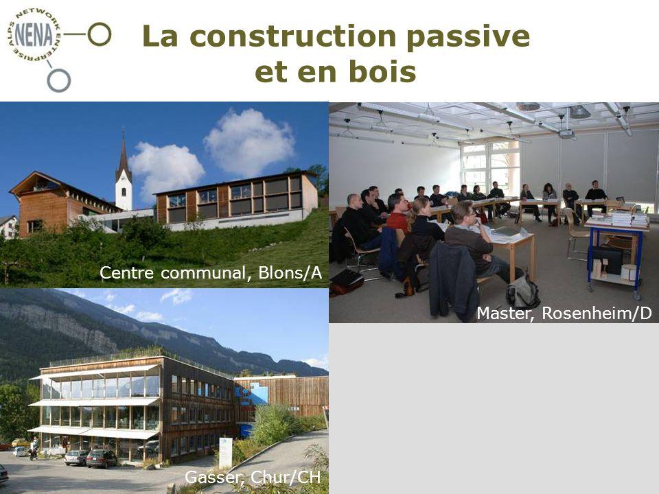NENA - Restructura, Turin/I, 30 novembre 2007 Claire Simon – CIPRA International La construction passive et en bois Master, Rosenheim/D Centre communal, Blons/A Gasser, Chur/CH
