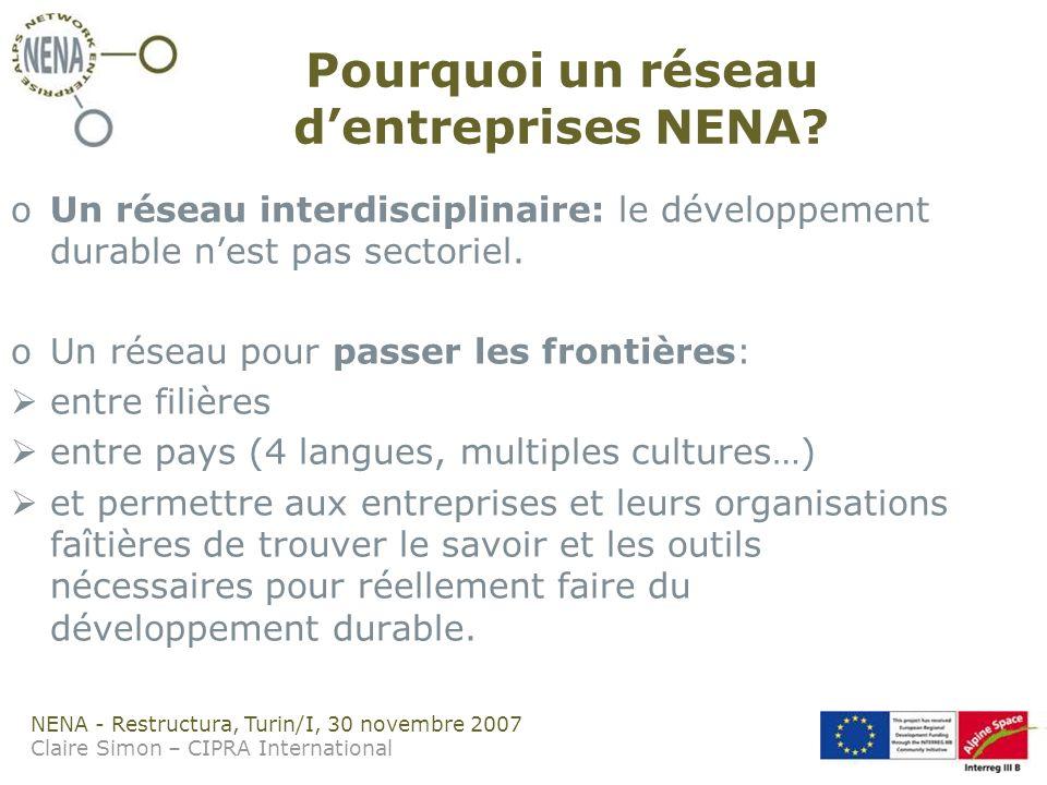 NENA - Restructura, Turin/I, 30 novembre 2007 Claire Simon – CIPRA International Pourquoi un réseau dentreprises NENA.