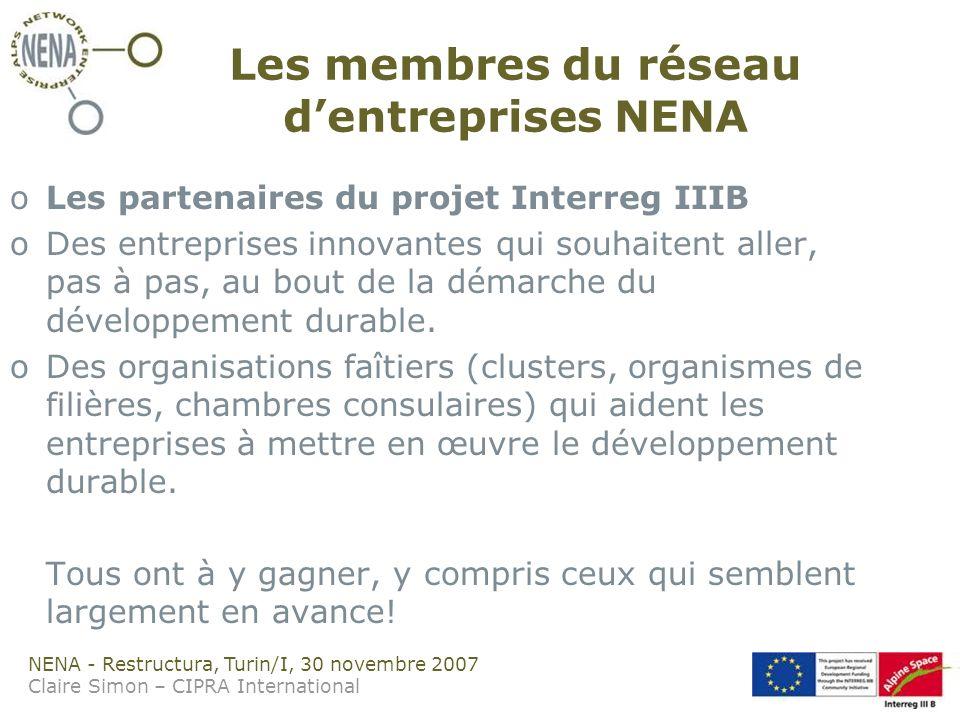NENA - Restructura, Turin/I, 30 novembre 2007 Claire Simon – CIPRA International Les membres du réseau dentreprises NENA oLes partenaires du projet Interreg IIIB oDes entreprises innovantes qui souhaitent aller, pas à pas, au bout de la démarche du développement durable.