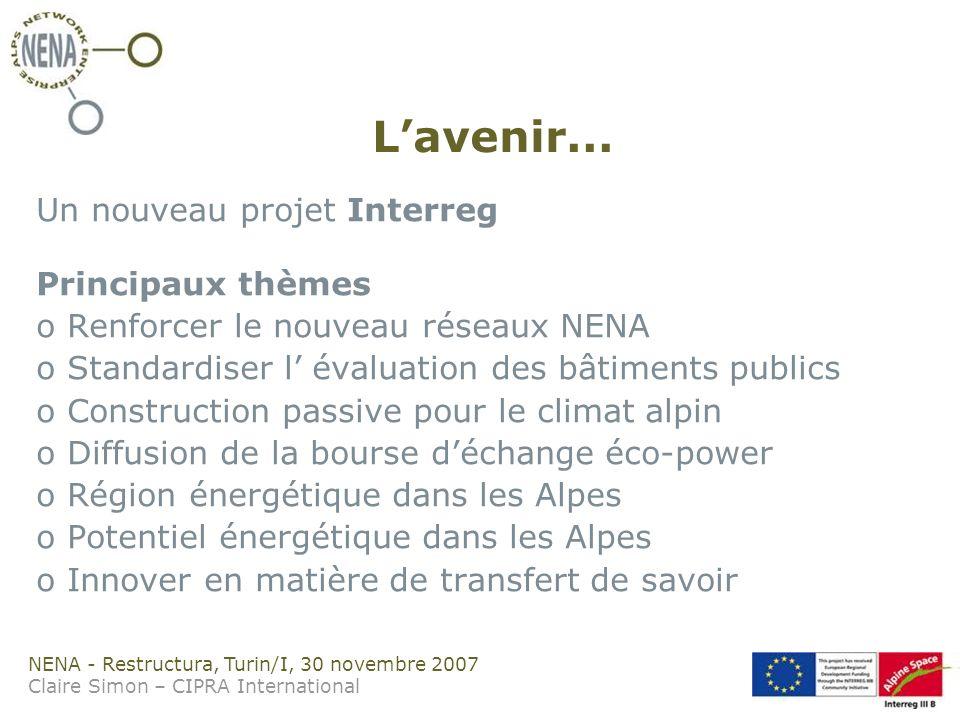 NENA - Restructura, Turin/I, 30 novembre 2007 Claire Simon – CIPRA International Lavenir...