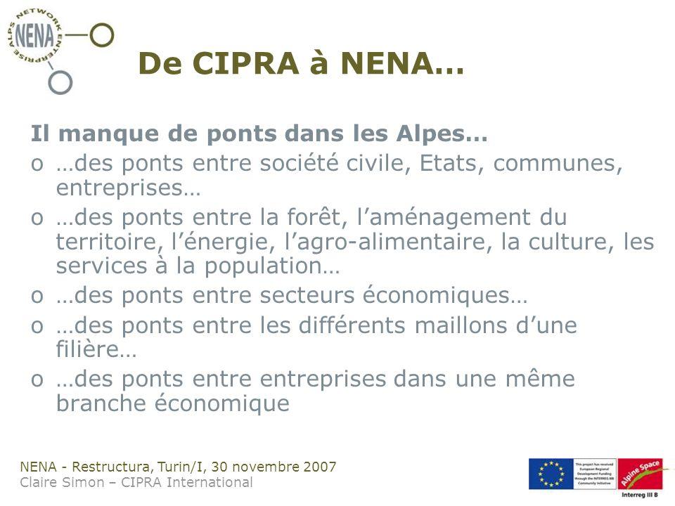 NENA - Restructura, Turin/I, 30 novembre 2007 Claire Simon – CIPRA International De CIPRA à NENA… Il manque de ponts dans les Alpes… o…des ponts entre société civile, Etats, communes, entreprises… o…des ponts entre la forêt, laménagement du territoire, lénergie, lagro-alimentaire, la culture, les services à la population… o…des ponts entre secteurs économiques… o…des ponts entre les différents maillons dune filière… o…des ponts entre entreprises dans une même branche économique