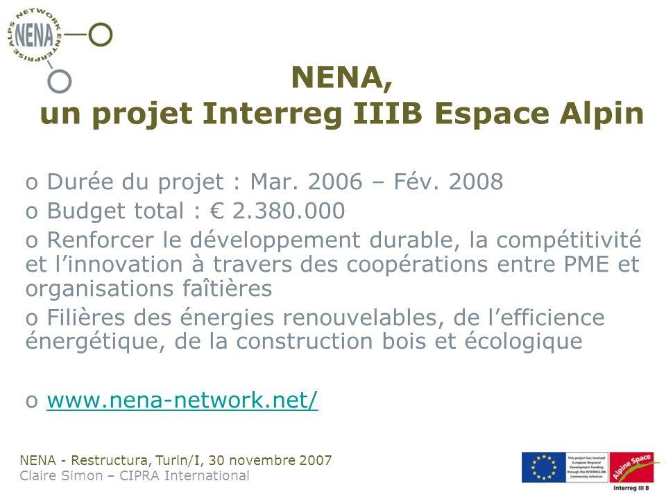 NENA - Restructura, Turin/I, 30 novembre 2007 Claire Simon – CIPRA International NENA, un projet Interreg IIIB Espace Alpin o Durée du projet : Mar.