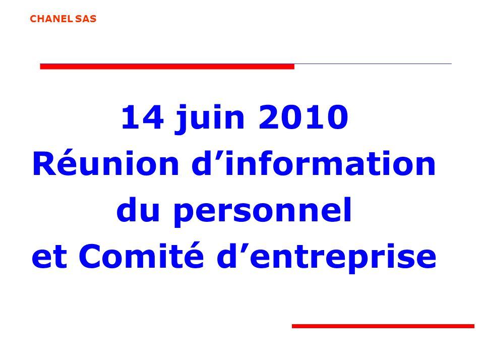 14 juin 2010 Réunion dinformation du personnel et Comité dentreprise CHANEL SAS