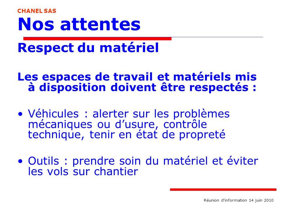 Nos attentes Respect du matériel Les espaces de travail et matériels mis à disposition doivent être respectés : Véhicules : alerter sur les problèmes