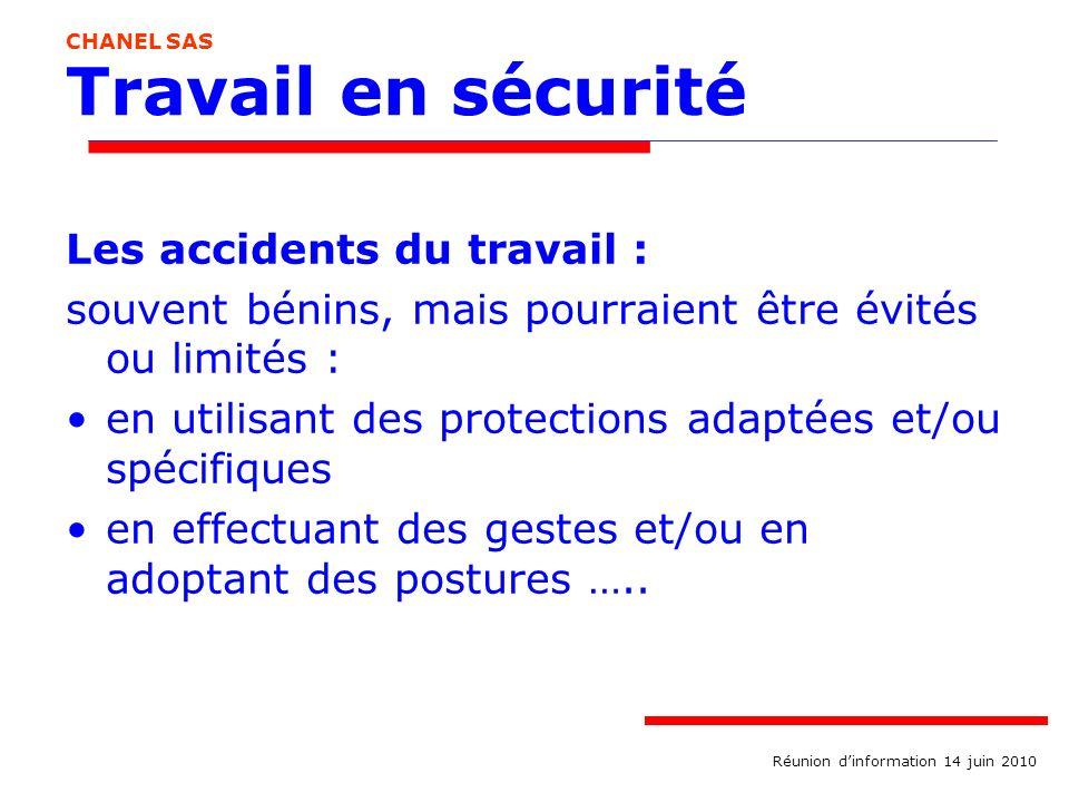 Travail en sécurité Les accidents du travail : souvent bénins, mais pourraient être évités ou limités : en utilisant des protections adaptées et/ou sp