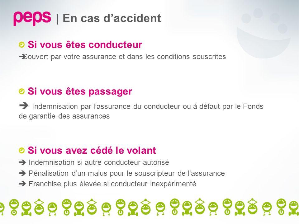 | En cas daccident Si vous êtes conducteur Couvert par votre assurance et dans les conditions souscrites Si vous êtes passager Indemnisation par lassu