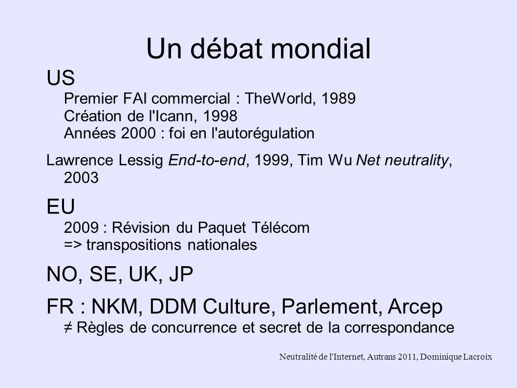 Neutralité de l'Internet, Autrans 2011, Dominique Lacroix Un débat mondial US Premier FAI commercial : TheWorld, 1989 Création de l'Icann, 1998 Années