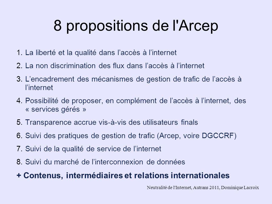 Neutralité de l'Internet, Autrans 2011, Dominique Lacroix 8 propositions de l'Arcep 1.La liberté et la qualité dans laccès à linternet 2.La non discri
