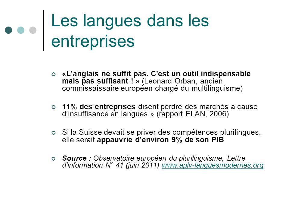 Les langues dans les entreprises «Langlais ne suffit pas. C'est un outil indispensable mais pas suffisant ! » (Leonard Orban, ancien commissaissaire e