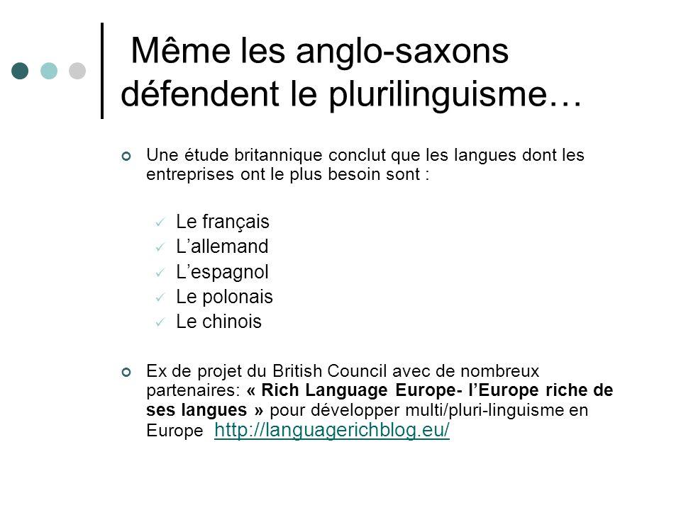 Même les anglo-saxons défendent le plurilinguisme… Une étude britannique conclut que les langues dont les entreprises ont le plus besoin sont : Le fra