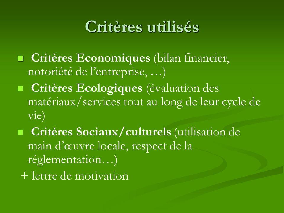 Critères utilisés Critères Economiques (bilan financier, notoriété de lentreprise, …) Critères Ecologiques (évaluation des matériaux/services tout au