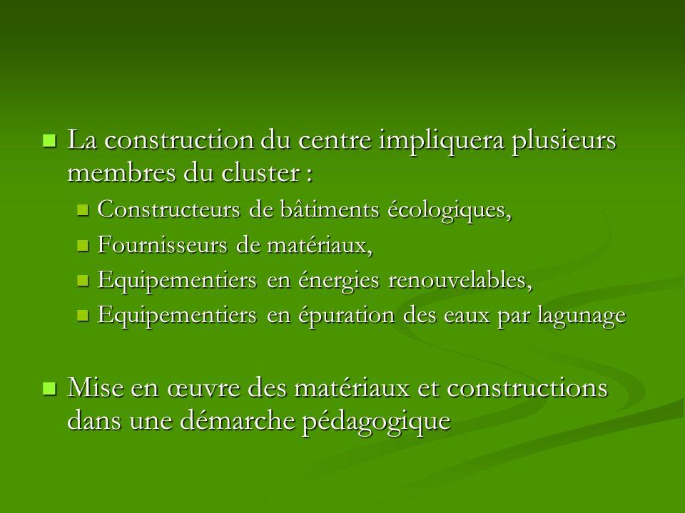 La construction du centre impliquera plusieurs membres du cluster : La construction du centre impliquera plusieurs membres du cluster : Constructeurs