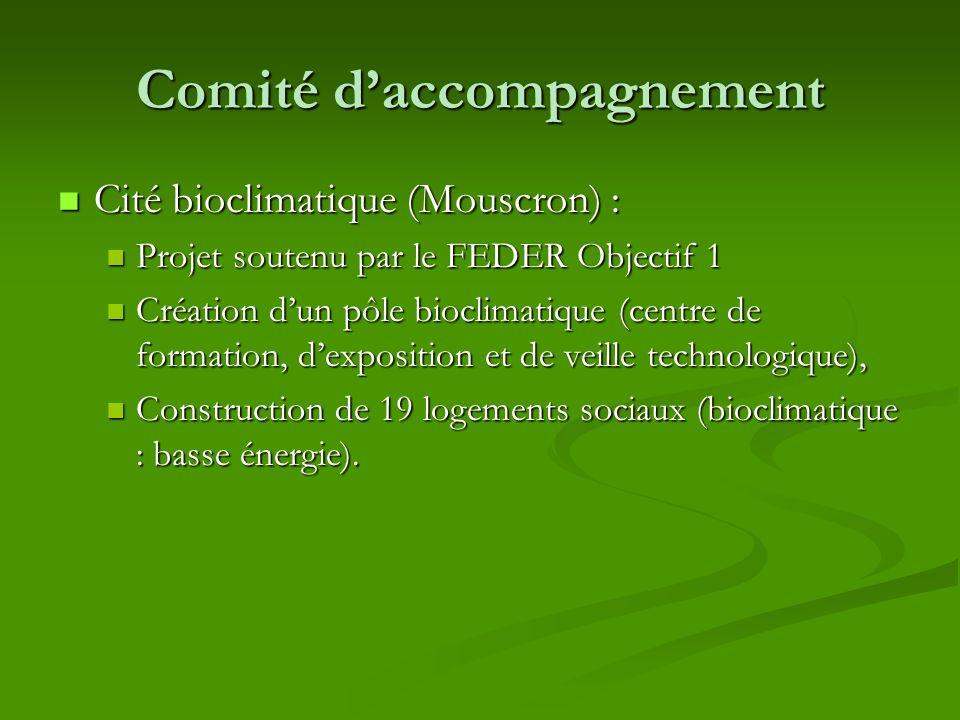 Comité daccompagnement Cité bioclimatique (Mouscron) : Cité bioclimatique (Mouscron) : Projet soutenu par le FEDER Objectif 1 Projet soutenu par le FE
