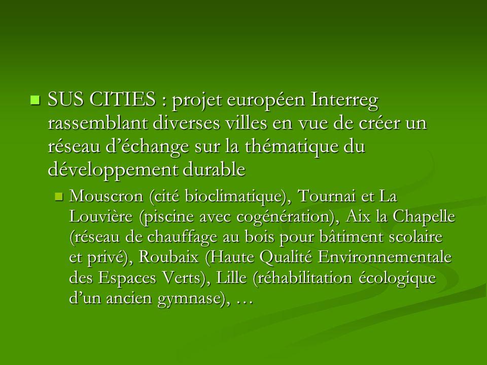 SUS CITIES : projet européen Interreg rassemblant diverses villes en vue de créer un réseau déchange sur la thématique du développement durable SUS CI