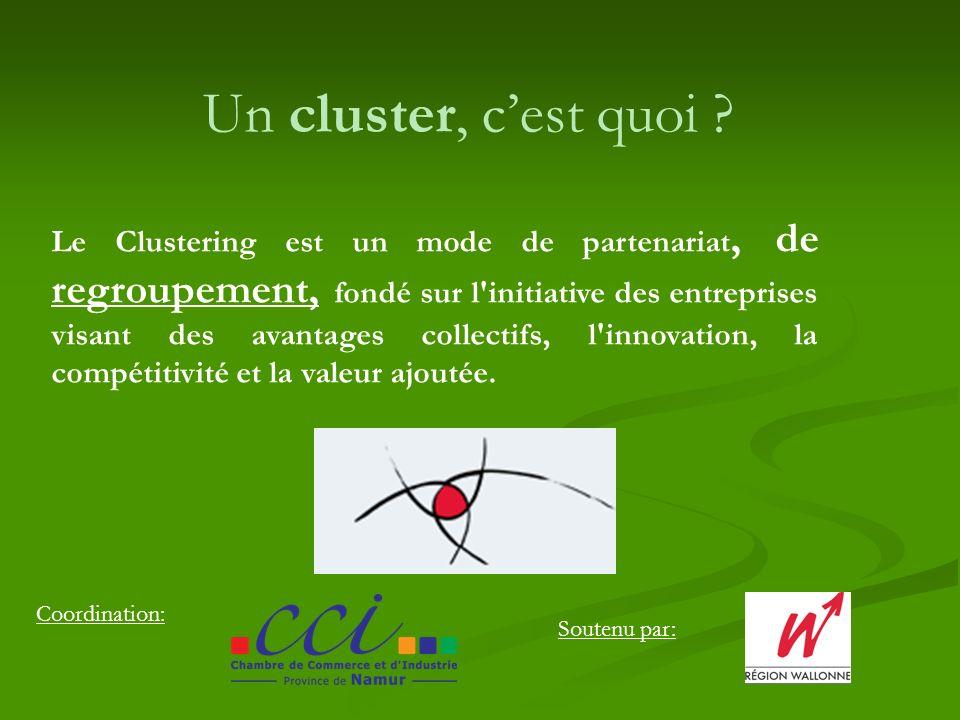 Coordination: Soutenu par: Un cluster, cest quoi ? Le Clustering est un mode de partenariat, de regroupement, fondé sur l'initiative des entreprises v