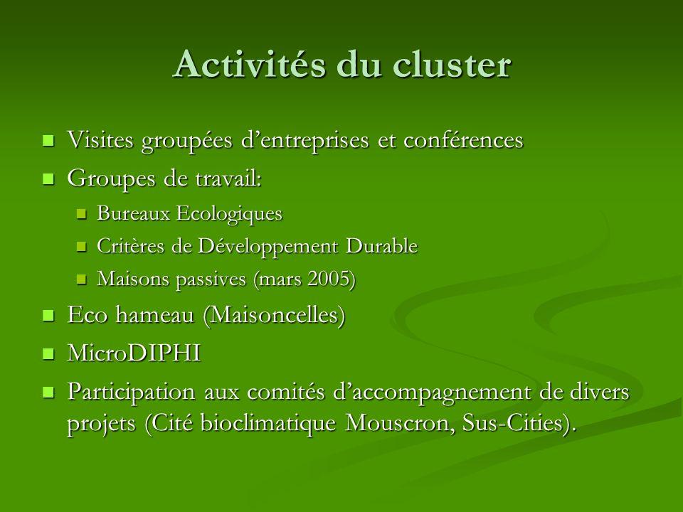 Activités du cluster Visites groupées dentreprises et conférences Visites groupées dentreprises et conférences Groupes de travail: Groupes de travail: