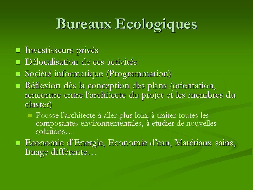 Bureaux Ecologiques Investisseurs privés Investisseurs privés Délocalisation de ces activités Délocalisation de ces activités Société informatique (Pr