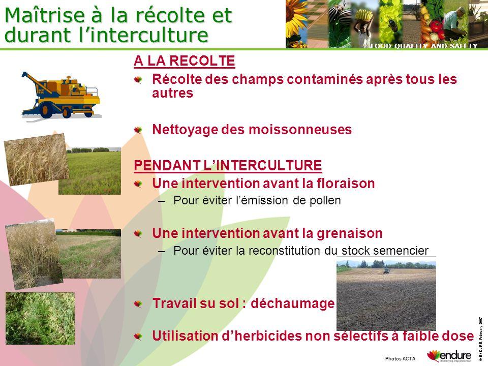 © ENDURE, February 2007 FOOD QUALITY AND SAFETY © ENDURE, February 2007 FOOD QUALITY AND SAFETY Maîtrise à la récolte et durant linterculture A LA REC