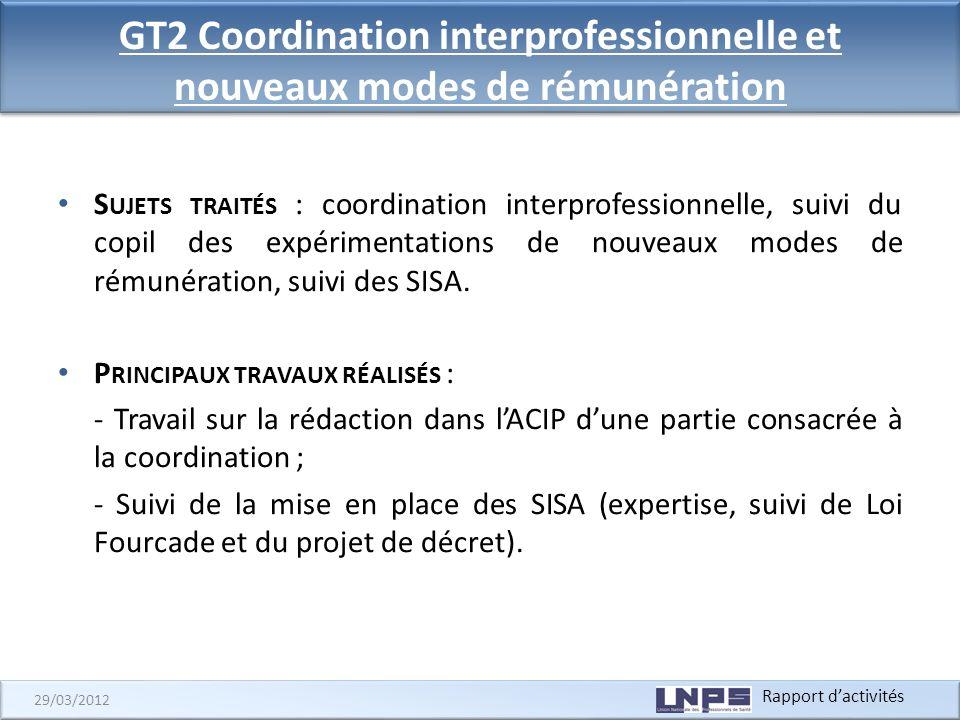 Rapport dactivités 29/03/2012 GT2 Coordination interprofessionnelle et nouveaux modes de rémunération S UJETS TRAITÉS : coordination interprofessionne