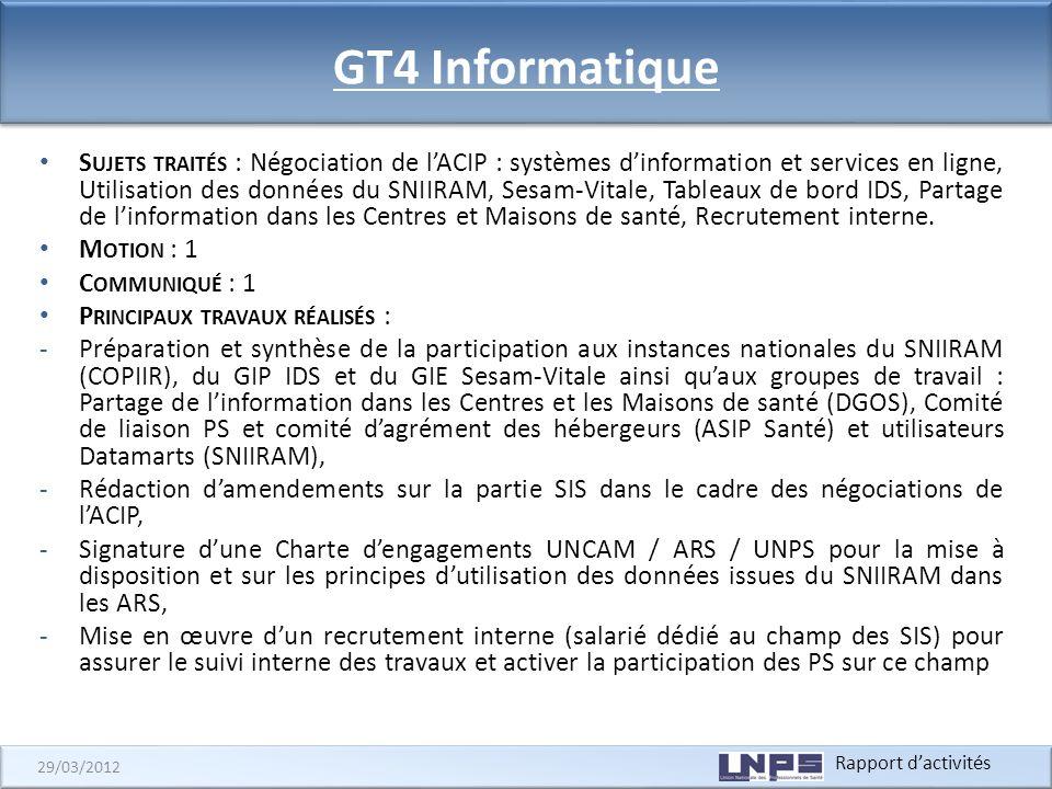 Rapport dactivités 29/03/2012 GT4 Informatique S UJETS TRAITÉS : Négociation de lACIP : systèmes dinformation et services en ligne, Utilisation des do