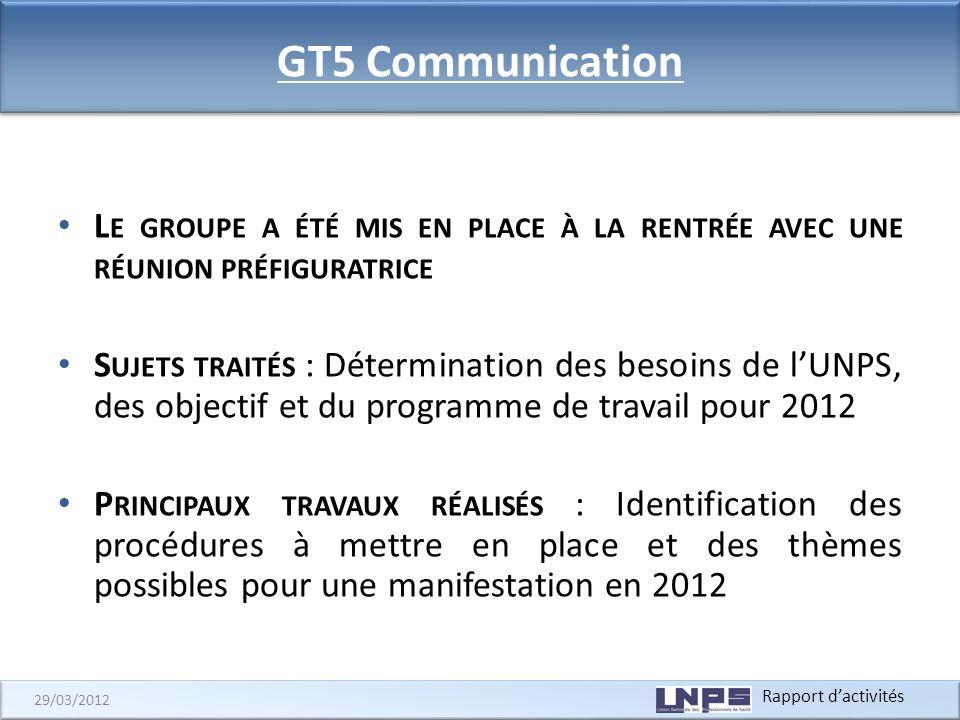 Rapport dactivités 29/03/2012 GT5 Communication L E GROUPE A ÉTÉ MIS EN PLACE À LA RENTRÉE AVEC UNE RÉUNION PRÉFIGURATRICE S UJETS TRAITÉS : Détermina